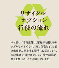 リサイクルオプション行使の流れ:※お届けする再生花は、家庭でも楽しめる小ぶりなサイズです。 ※ご自宅など、お届け先様がご指定する場所にお届けします。※お届け先様のオプション行使状況を、贈り主様にメールでお知らせします。