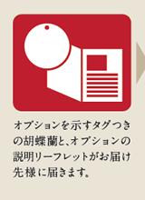 オプションを示すタグ付きの胡蝶蘭と、リサイクルオプション行使のしおりがお届け先様に届きます。